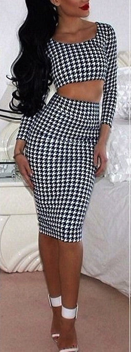 HOUNDSTOOTH TWO PIECE SET (top and skirt) - DRESS - Koogal.com.au