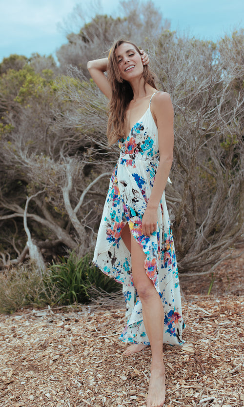 AUTUMN LEAVES FLORAL MAXI WRAP DRESS - DRESS - Koogal.com.au