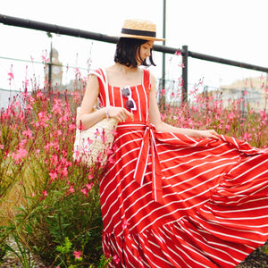 CANDY CANE RED AND WHITE STRIPE MAXI DRESS