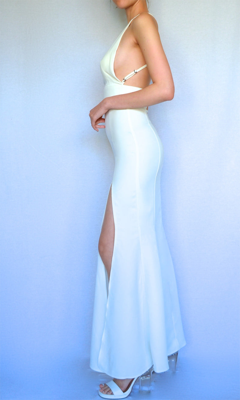NOBLE MAIDEN SLIT MAXI DRESS in WHITE - DRESS - Koogal.com.au
