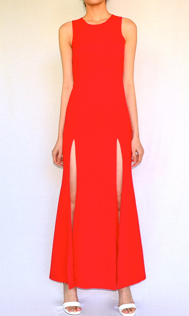 DOUBLE SLIT MAXI DRESS in RED - DRESS - Koogal.com.au