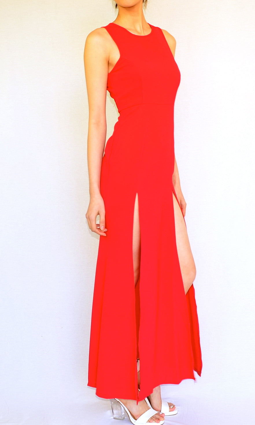 DOUBLE SLIT MAXI DRESS in RED