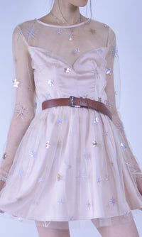 STARRY NIGHT SHEER SEQUIN MINI PARTY DRESS