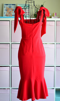 AHRI BOW SHOULDER RED BODYCON DRESS - Koogal