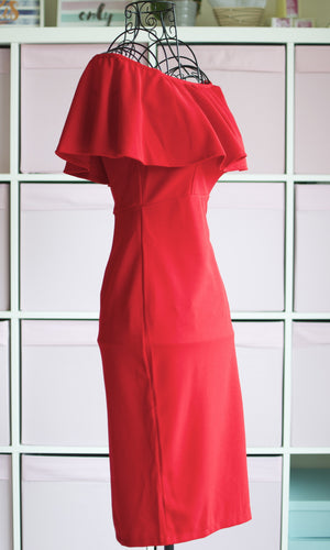 TIANA OFF THE SHOULDER RED BODYCON DRESS - DRESS - Koogal.com.au