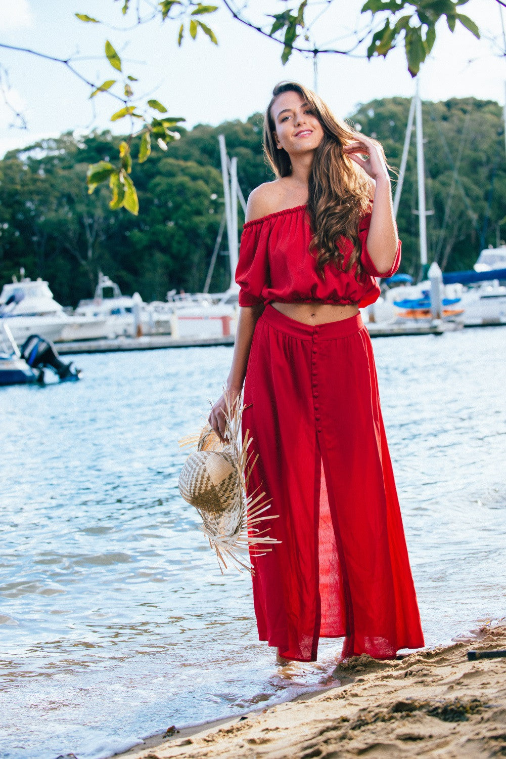 FIRE GODDESS RED MAXI SKIRT - DRESS - Koogal.com.au
