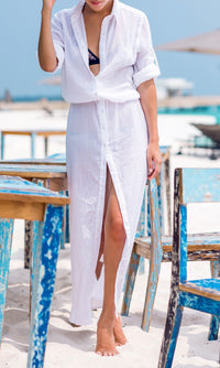 SUMMER MAXI FLOWY DRESS in WHITE - DRESS - Koogal.com.au