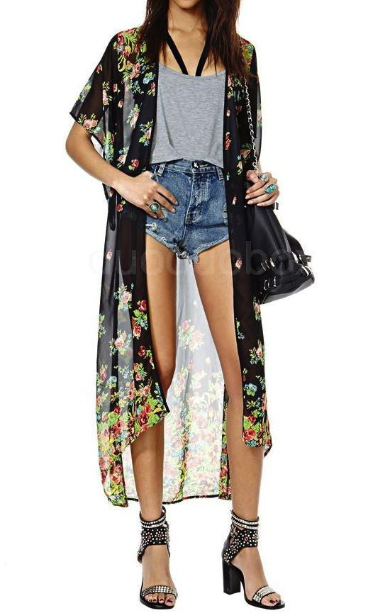 HOLIDAY MOOD LONG MAXI KIMONO CARDIGAN - DRESS - Koogal.com.au