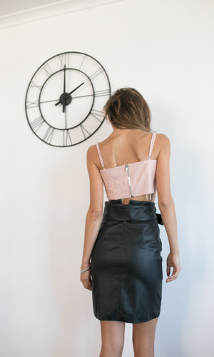 OH SO SLEEK FAUX LEATHER PENCIL SKIRT - BOTTOMS - Koogal.com.au