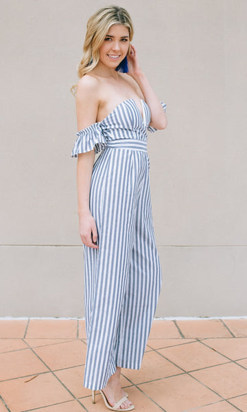 SUGAR BABY OFF THE SHOULDER JUMPSUIT in BLUE STRIPE