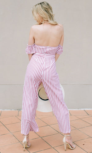 SUGAR BABY OFF THE SHOULDER JUMPSUIT in RED STRIPE