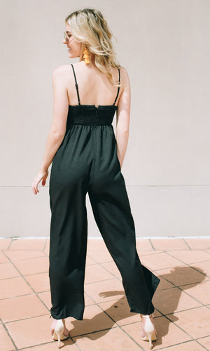 JENNY WIDE LEG JUMPSUIT in BLACK - DRESS - Koogal.com.au