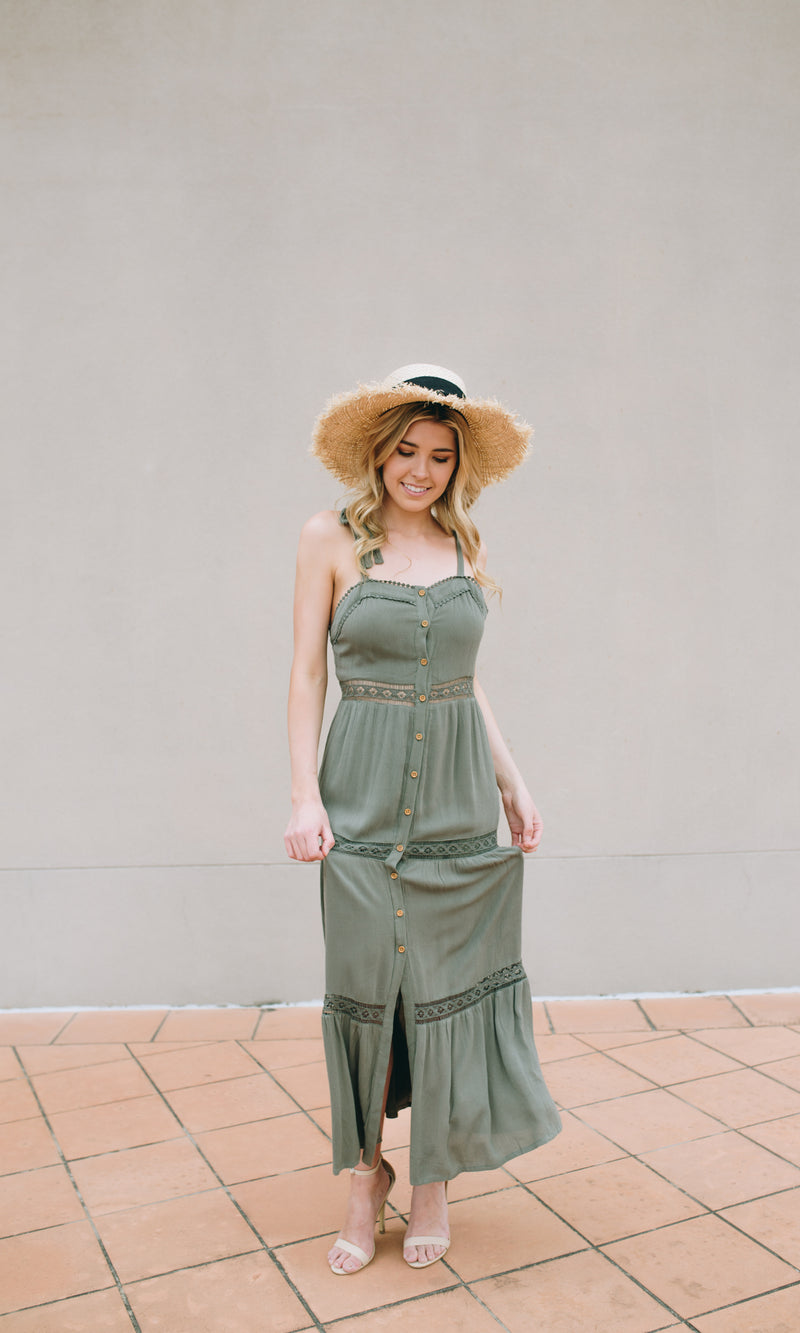 SELENA SHOULDER BOW GREEN MAXI DRESS