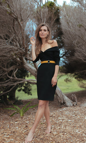 VENUS BLACK BODYCON DRESS - DRESS - Koogal.com.au
