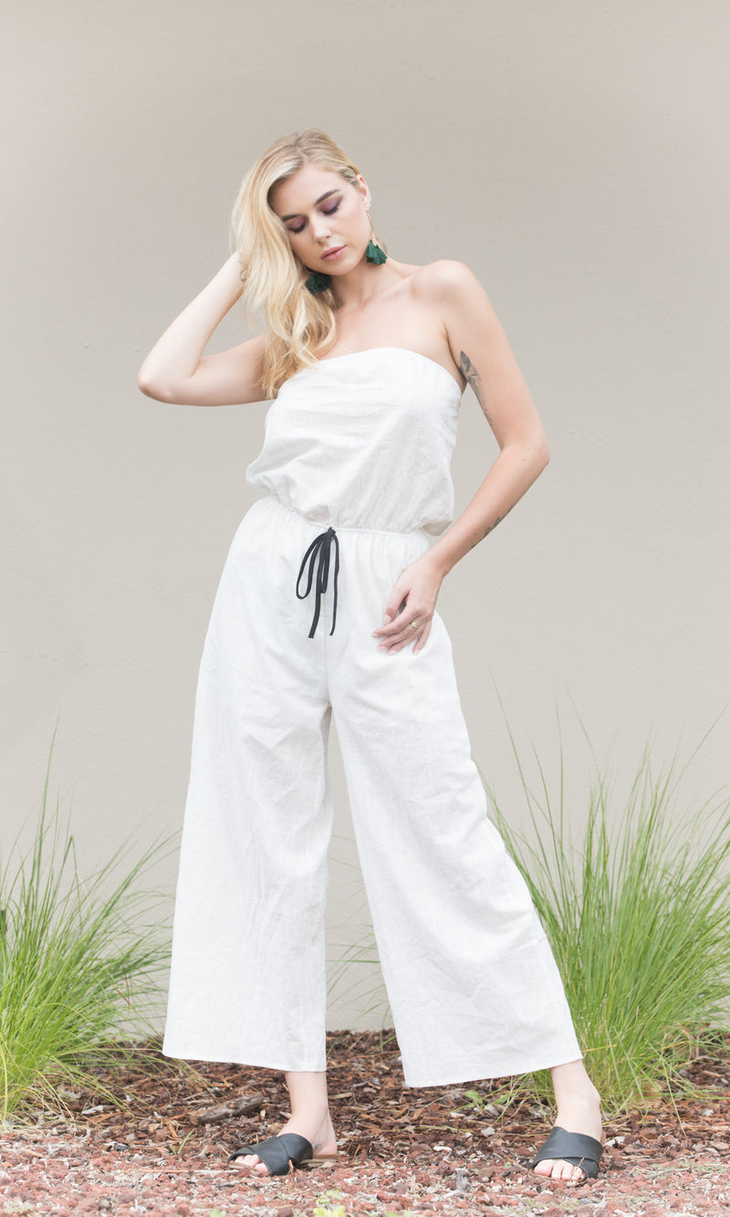 WHITE CLOUD BACKLESS LONG JUMPSUIT