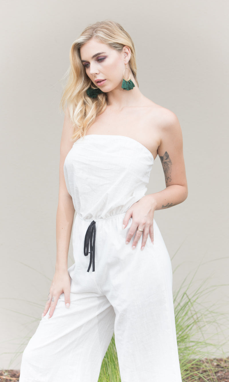 WHITE CLOUD BACKLESS LONG JUMPSUIT - jumpsuit - Koogal.com.au