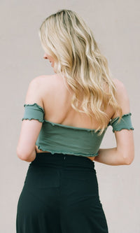 OLIVE SHORT SLEEVE CROP TOP - TOP - Koogal.com.au