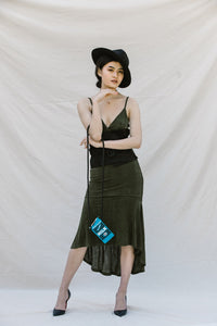 HIGH LOW VELVET MIDI DRESS - DRESS - Koogal.com.au
