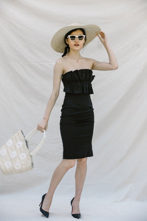 RETRO STRAPLESS BODYCON MIDI DRESS