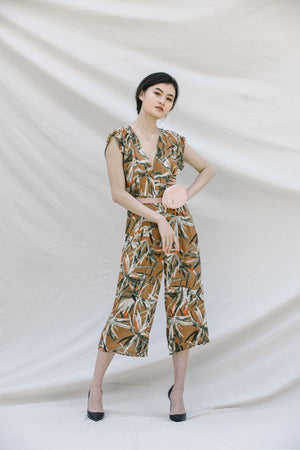 FLORAL MIDI JUMPSUIT WITH V-NECK