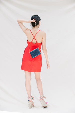 SILK WRAP SPAGHETTI STRAP MINI DRESS IN RED - Koogal