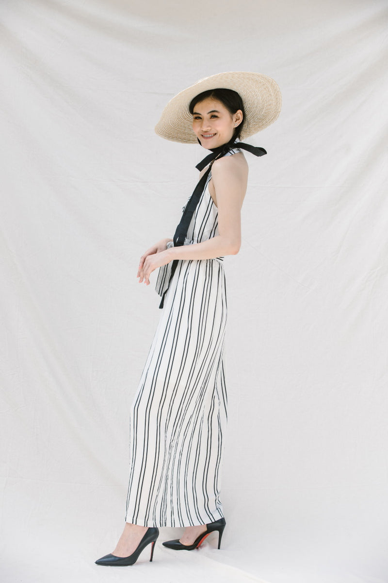 BABY DOLL HALTER NECK WRAP STRIPES MAXI DRESS - DRESS - Koogal.com.au