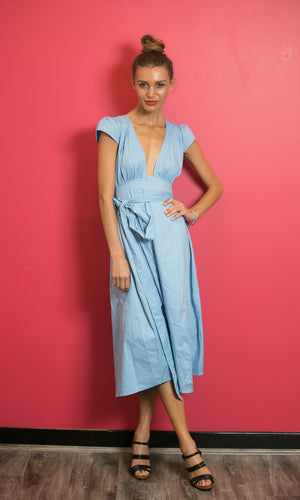 THEIA WRAP MAXI DRESS IN SKY BLUE