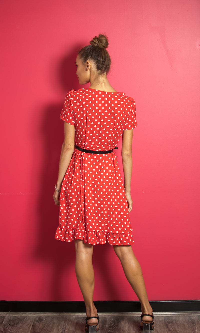 Nyx-red-mini-wrap-dress-polka-dot-Koogal