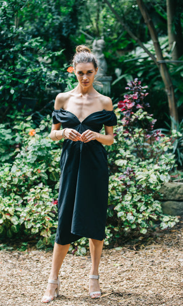 MIMI OFF THE SHOULDER DRESS in BLACK
