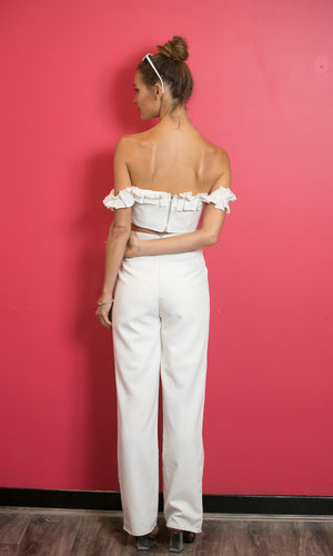 BOSS LADY HIGH WAISTED TAILOR SUIT PANTS IN WHITE - Koogal