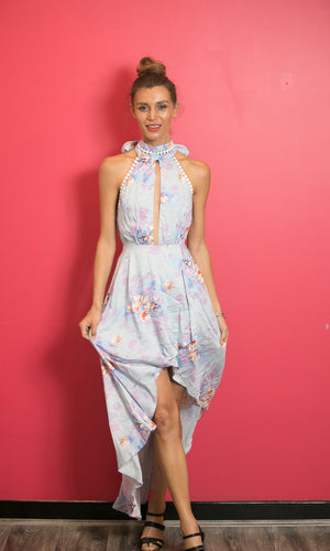 IVY FLORAL HIGH LOW BACKLESS MAXI DRESS - DRESS - Koogal.com.au