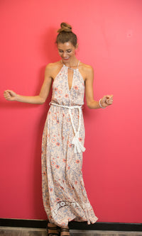 LILLA MAXI FLOWY BACKLESS DRESS IN FLORAL - DRESS - Koogal.com.au