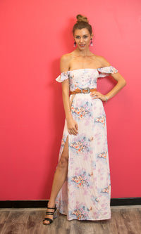 ADRIANA OFF THE SHOULDER MAXI FLOWY DRESS IN FLORAL - DRESS - Koogal.com.au