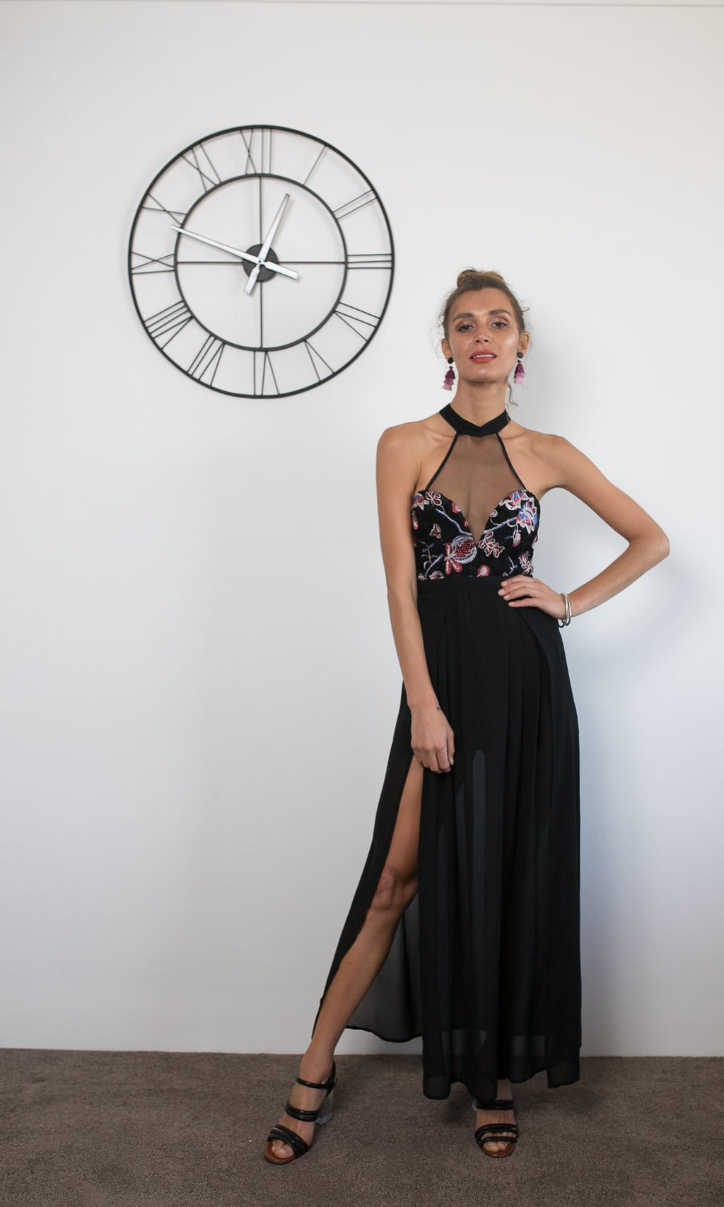 AMAZON HIGH NECK MAXI PROM DRESS in BLACK