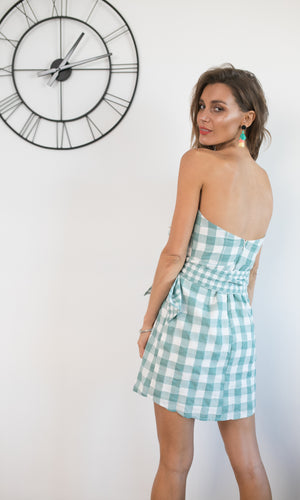 STRAPLESS TIED UP MINI DRESS IN TEAL GINGHAM
