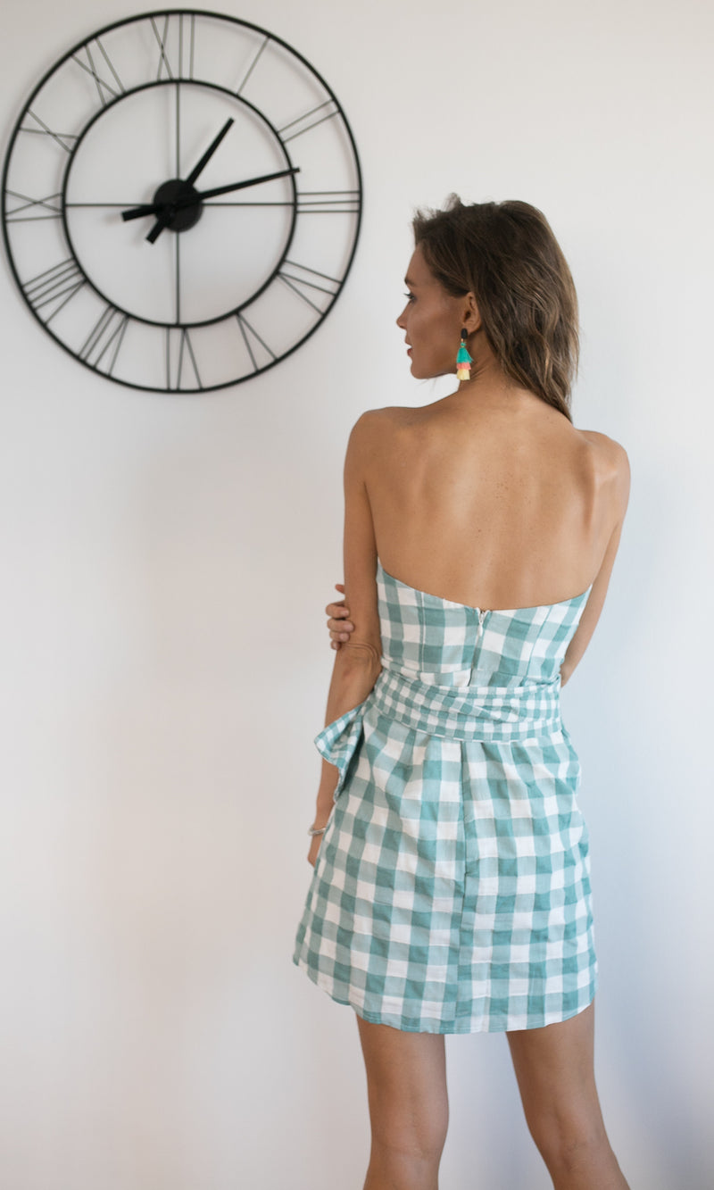 STRAPLESS TIED UP MINI DRESS IN TEAL GINGHAM - DRESS - Koogal.com.au