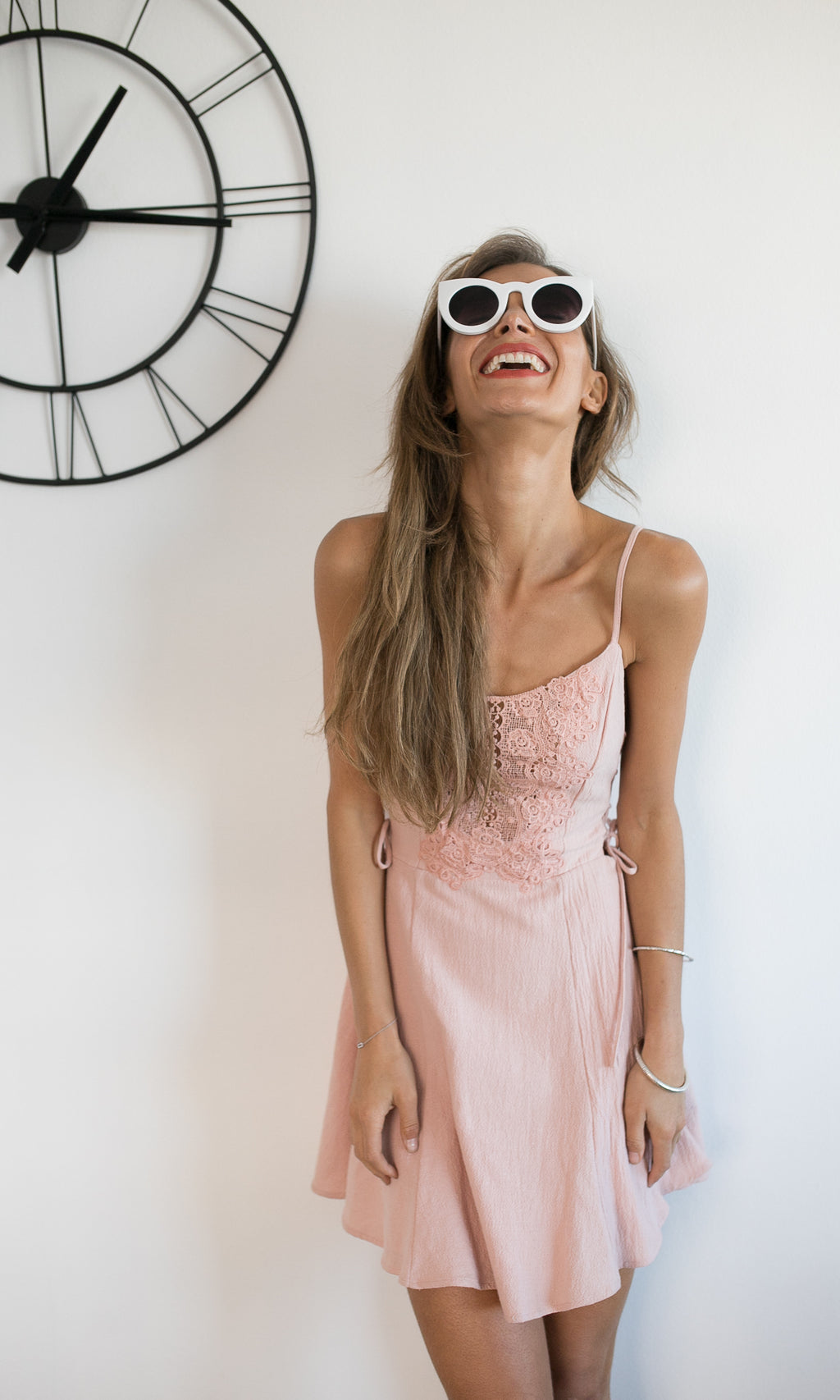 LOLLIPOP MINI LACE DRESS IN DUSTY PINK