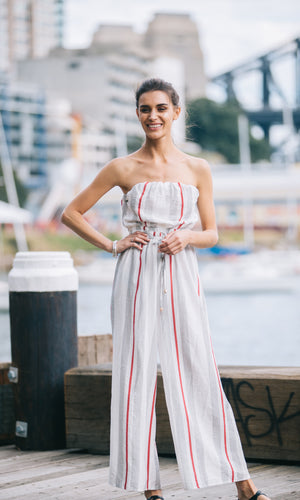 OLIVIA STRAPLESS LONG JUMPSUIT - jumpsuit - Koogal.com.au