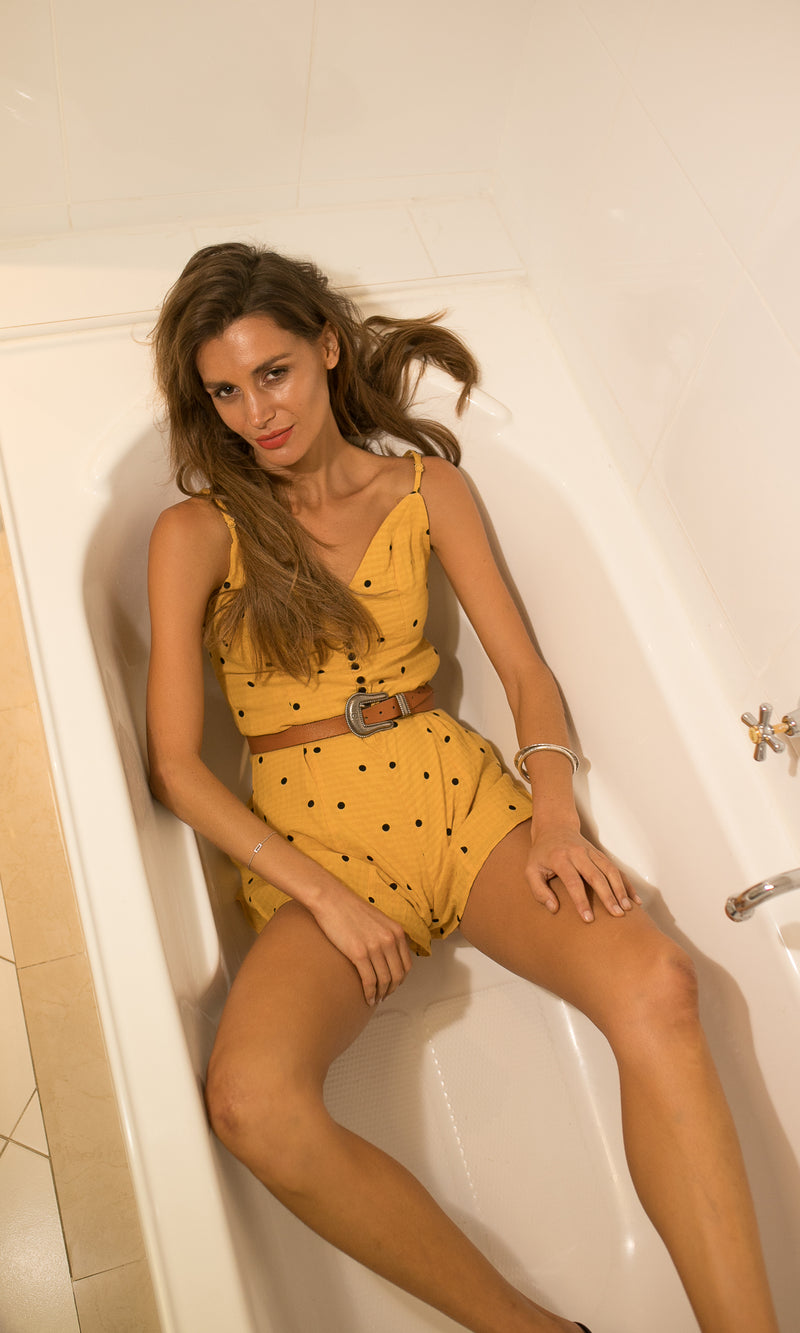 BRING THE HEAT SHORT JUMPSUIT in YELLOW - DRESS - Koogal.com.au