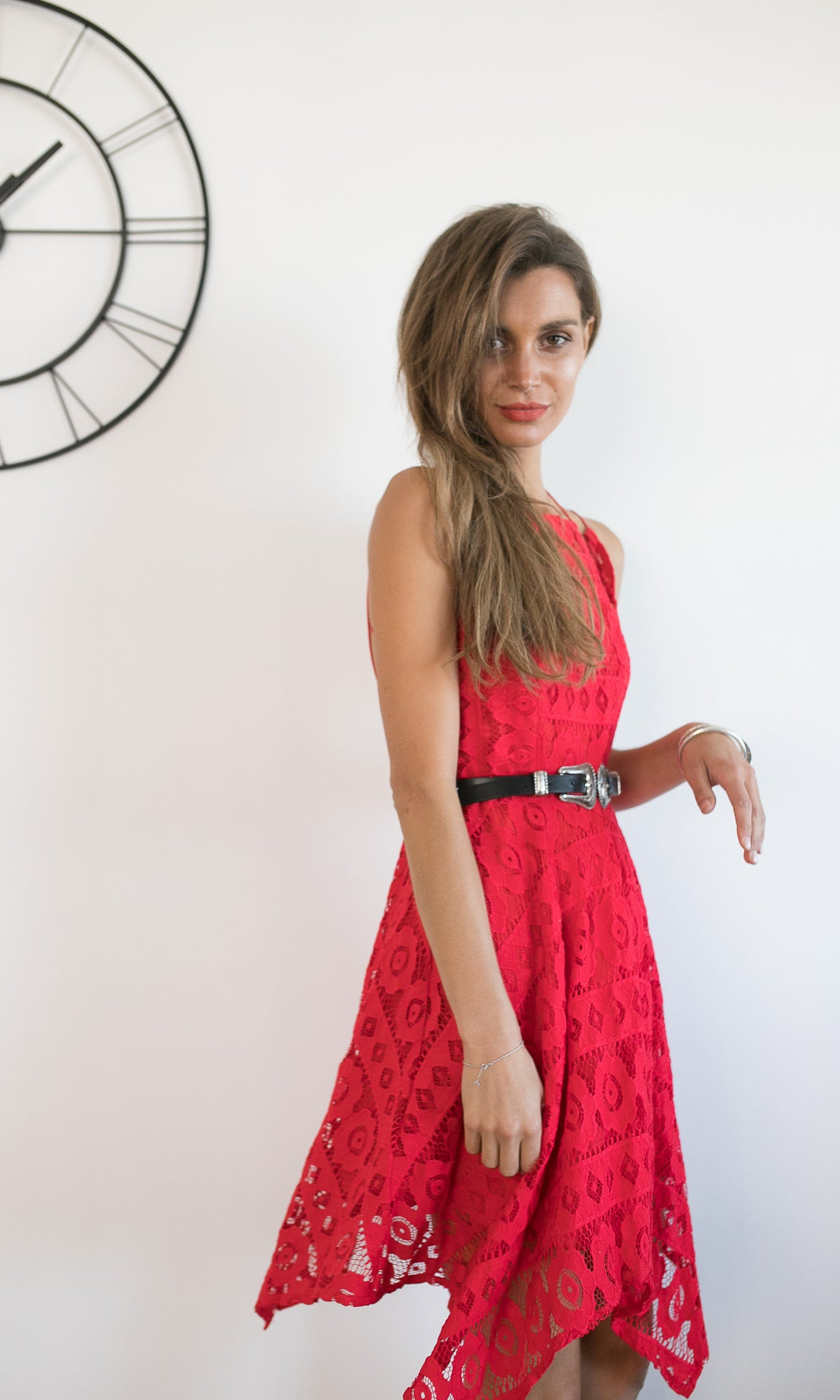 CHI CHI BACKLESS LACE RED DRESS