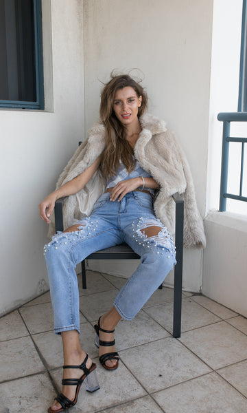 HONEY BUN FAUX FUR LONG SLEEVE JACKET