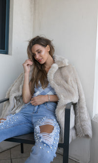HONEY BUN FAUX FUR LONG SLEEVE JACKET -  - Koogal.com.au