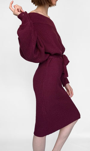 Collettte Off the Shoulder Midi Knit Dress - DRESS - Koogal.com.au