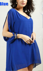 COLD SHOULDER BLUE SHIRT DRESS