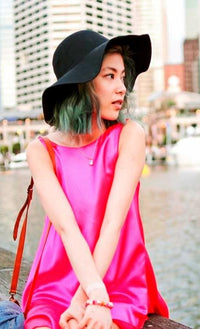 PINK SILK LOTUS MINI MULLET DRESS - DRESS - Koogal.com.au