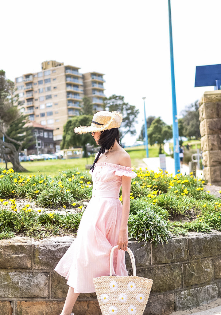 RUBI PINK OFF THE SHOULDER MIDI DRESS - DRESS - Koogal.com.au
