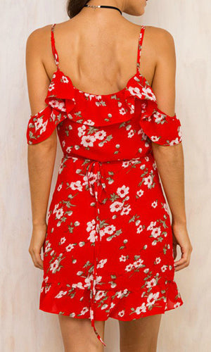 PIA FLORAL MINI WRAP DRESS IN RED - DRESS - Koogal.com.au