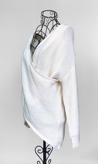 Reversible White Knitted Sweater with surplice V-neck - TOP - Koogal.com.au