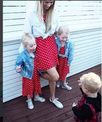 KID COLD SHOULDER POLKA DOT DRESS