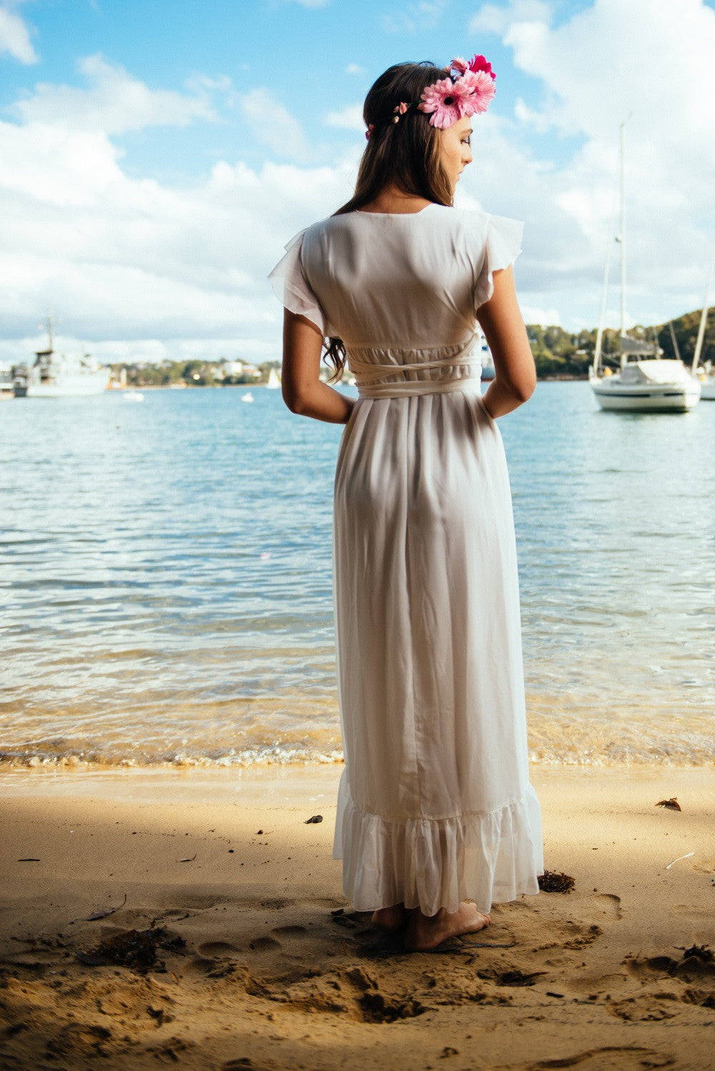 TARA MAXI WRAP DRESS IN WHITE
